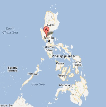 A Screen Shot of Aaron's Hometown, Angeles City, Philippines, on Google Map