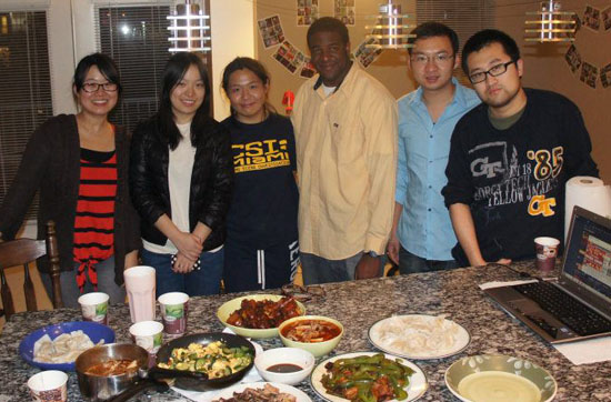 Aaron with His Chinese Friends in Gainesville, Florida